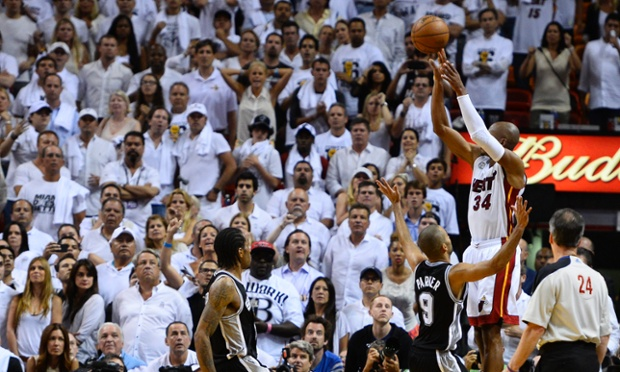 Miami Heat guard Ray Allen hit a game-tying three-pointer to force overtime in Game Seven of the NBA Finals. The Heat went on to defeat the San Antonio Spurs to force a Game Seven.