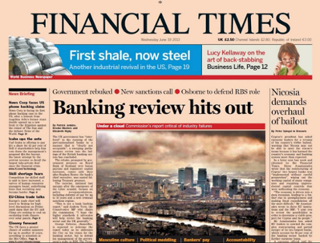Financial Times Front Page, June 19 2013