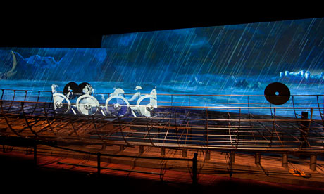 A violent animated backdrop to a reconstructed Viking warship