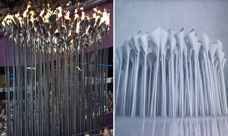 Thomas Heatherwick's Olympic cauldron (left) and the design Atopia submitted to Locog in 2007