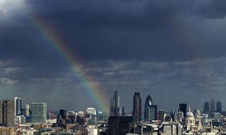 Rainbow over the City of London