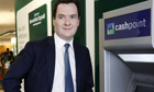 George Osborne at a Lloyd's TSB cash machine