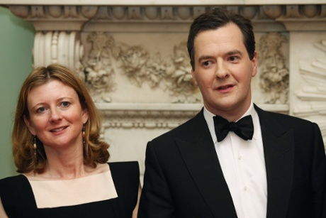 Britain's Chancellor of the Exchequer George Osborne poses with his wife Frances Osborne (L) during the 'Lord Mayor's Dinner to the Bankers and Merchants of the City of London' at the Mansion House in London June 19, 2013.