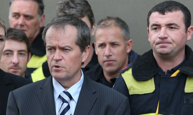 Federal Minister for Workplace Relations Bill Shorten addresses a firefighters meeting in Melbourne.