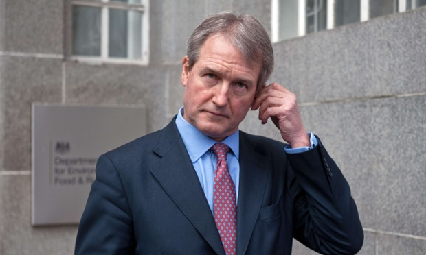 Owen Paterson, the environment secretary, is making a speech urging the public to back GM crops.