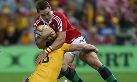 George North is tackled by James O'Connor.