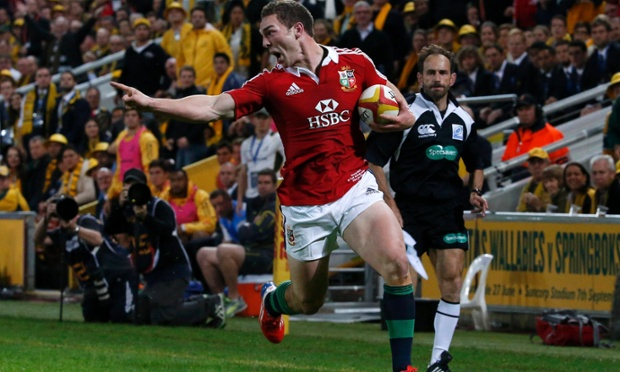 George North scores a try for the Lions against Australia.