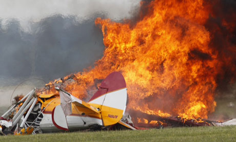 Two dead after stunt plane carrying wing walker crashes at Ohio air show