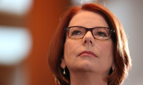 The Prime Minister Julia Gillard prepares to address the CEDA State of the Nation conference at a breakfast in the Mural Hall of Parliament House. The Global Mail.
