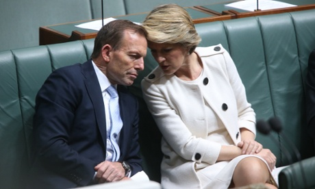 The Leader of the Opposition Tony Abbott with Deputy Julie Bishop. The Global Mail.