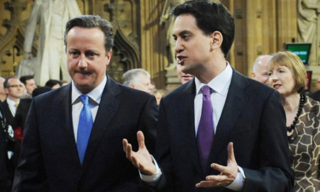 David Cameron and Ed Miliband at the state opening of parliament