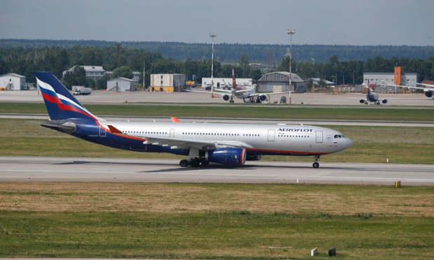 The Aeroflot Airbus A330 plane that was to carry Edward Snowden on a flight to Havana taxies out at Sheremetyevo airport, Moscow
