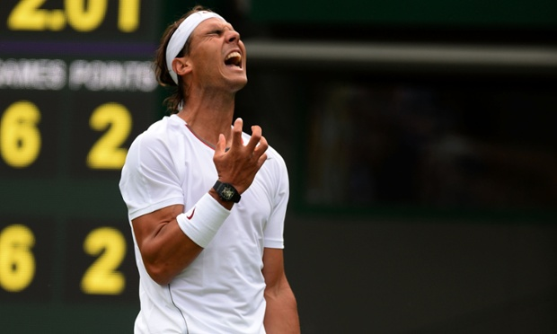 Rafael Nadal suffers against Steve Darcis.