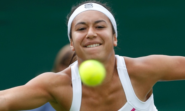 Heather Watson strains to return against Madison Keys.