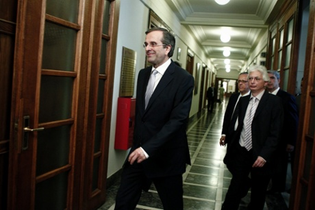 Greek Prime Minister Antonis Samaras arrives for a cabinet meeting at the Greek Parliament in Athens, Greece, 25 June 2013.
