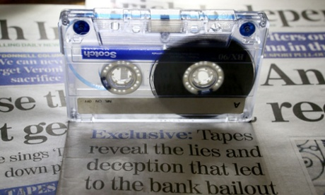 A picture of a cassette tape and the Irish Independent Newspaper as Government ministers were unaware that conversations between former Anglo Irish bankers were recorded.
