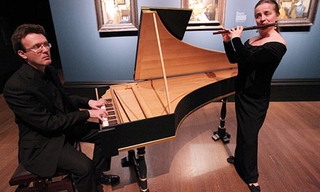 Julian Perkins plays the harpsichord and Rachel Brown the flute at the Vermeer show