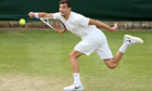 Grigor Dimitrov on his way to his 6-1, 6-4, 6-3 victory over Simone Bolelli at court 18 at Wimbledon