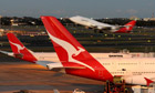 A Qantas Boeing 747 taking-off at Sydney Airport