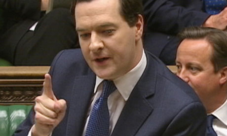 The only way is up. George Osborne points in the dirrection he feels Britain is heading