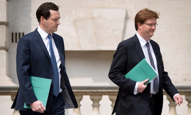 George Osborne (left) and Danny Alexander with copies of the spending review 2013.