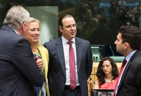 Finish Minister of finance Jutta URPILAINEN (L) is talking with the swedish Minister of finance Anders BORG (C) and the Romanian Minister or Budget Liviu VOINEA (R) prior an european finance Ministers meeting in the EU council headquarter.
