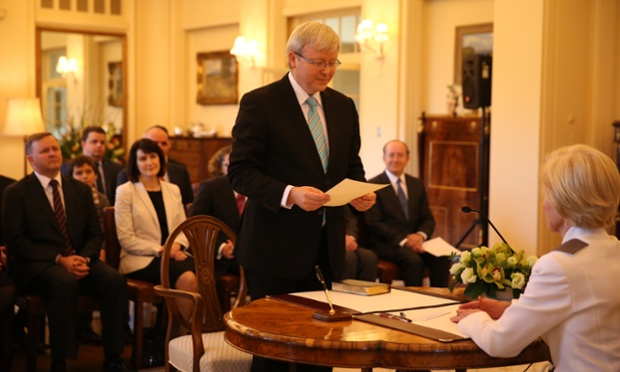 Kevin Rudd is sworn in to the role of Prime Minister of Australia, by the Governor-General Quentin Bryce at a ceremony at Government House, Canberra