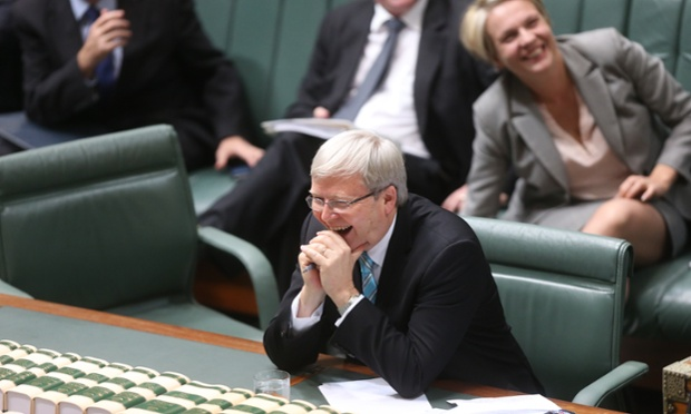 Prime Minister Kevin Rudd reacts to a valedictory speech by Defence Minister Stephen Smith after question time in Parliament House.