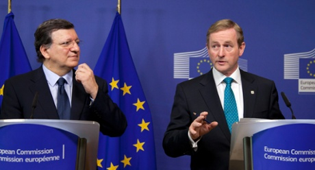 European Commission President Jose Manuel Barroso, left, and Irish Prime Minister Enda Kenny participate in a media conference at EU headquarters in Brussels on Thursday, June 27, 2013.