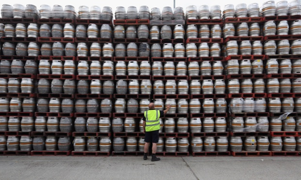 Anyone for a swift half? Kegs are stacked outside the distribution centre for the Adnams brewery in Reydon, Suffolk. The brewery was established in the small Suffolk coastal town of Southwold in 1872 by George and Ernest Adnams.