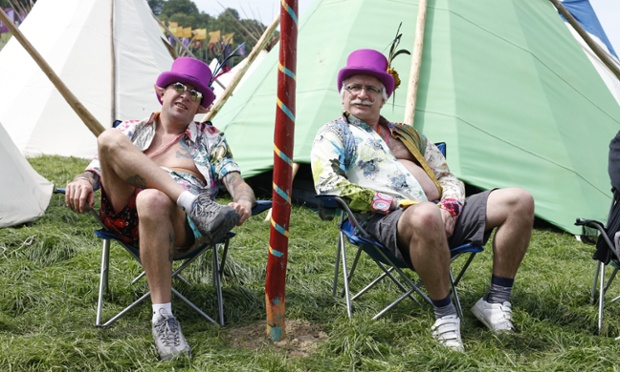 Crazy matching headgear at Glastonbury 2013 this afternoon.