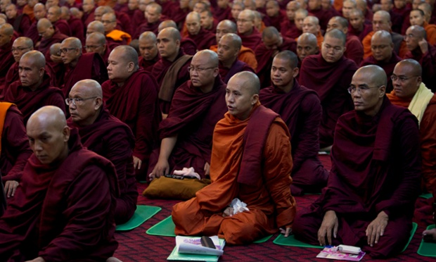 Controversial Buddhist monk Wirathu, second right, participates in an assembly of Burma's powerful Buddhist clergy in outskirts of Rangoon.