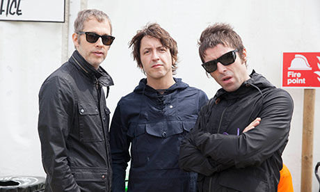 Beady Eye backstage after a secret gig on the Other Stage.