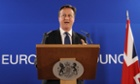 British Prime Minister David Cameron attends a press conference after the European Union leaders summit on June 28, 2013 at the EU headquarters in Brussels.