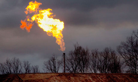 A gas flare burns at a fracking site in rural Bradford County Pennsylvania