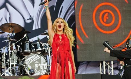 Rita Ora on the Pyramid stage.