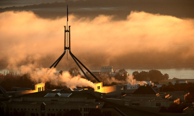 Parliament emerges from the dawn fog. The Global Mail. Mike Bowers
