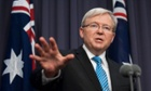Prime Minister Kevin Rudd during his first press conference since reassuming the post.