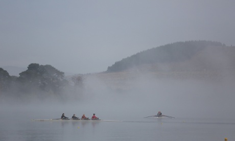 Rowers on Lake Burley Griffin outside Government House in Yarralumla this morning. The Global Mail.