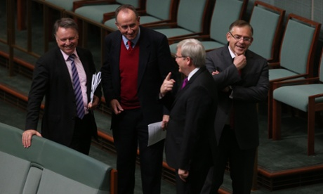 Joel Fitzgibbon, John Murphy, Kevin Rudd and Anthony Byrne after a division in the House of Representatives this morning . The Global Mail.
