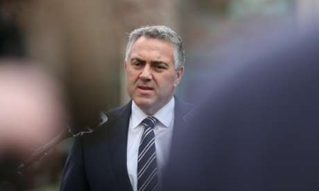 The Shadow Treasurer Joe Hockey at a press conference in a senate courtyard of Parliament House. The Global Mail.