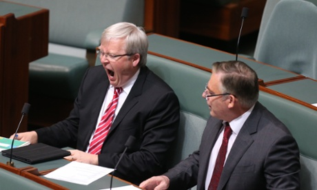 Not shouting, yawning. Kevin Rudd during Question Time. The Global Mail.