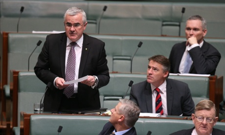 The Member for Denison Andrew Wilkie during Question Time, with Rob Oakeshott. The Global Mail.