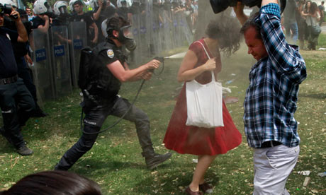 Turkish riot policeman uses tear gas against woman 4