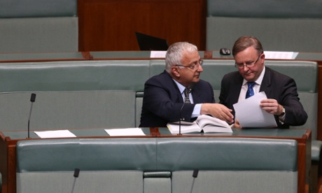 The Leader of the House Anthony Albanese and the member for Banks Daryl Melham refer to the standing orders. The Global Mail.