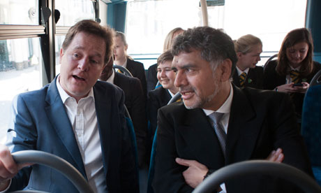 Nick Clegg and James Caan on London bus