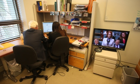 The Member for Kennedy Bob Katter conducts his own question time via social media in his Parliamentary office. The Global Mail.