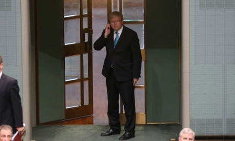 Kevin Rudd this afternoon in the House of Representatives. The Global Mail.
