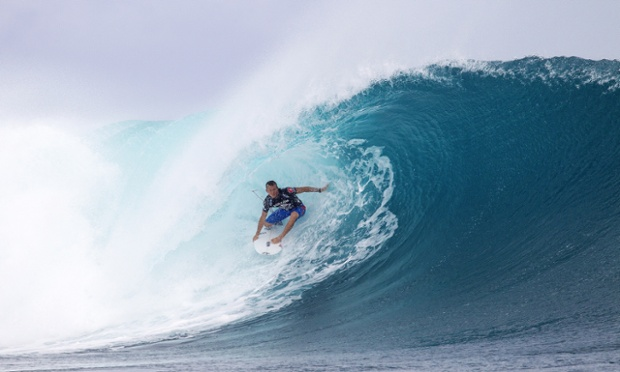 Dusty Payne of Hawaii surfs during the Fiji Pro surf competition in Tavarua, Fiji.