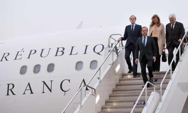 Francois Hollande arrives in Tokyo with his partner Valérie Trierweiler for three days of talks, hoping to seal deals on nuclear co-operation and the aviation sector, on the first state visit by a French president in 17 years.
